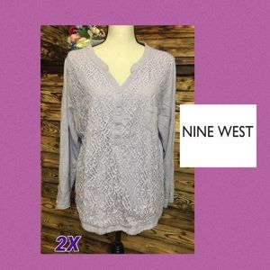 Nine West Lavender Lace Inlay Blouse💜2X